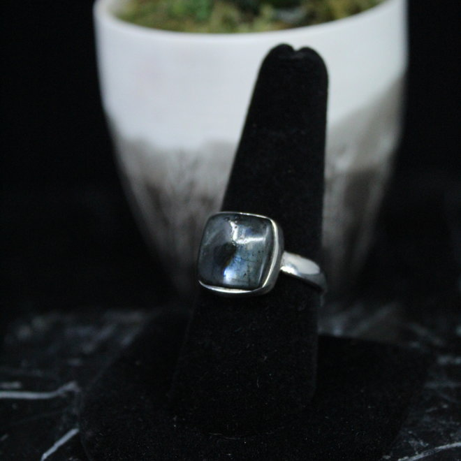 Black Labradorite/Larvikite Ring - Size 9 - Sterling Silver Square