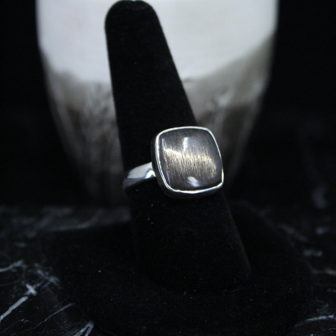 Black Sunstone Ring - Size 9 - Sterling Silver Square