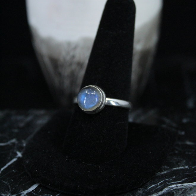 Blue Labradorite Ring - Size 10 - Sterling Silver Round