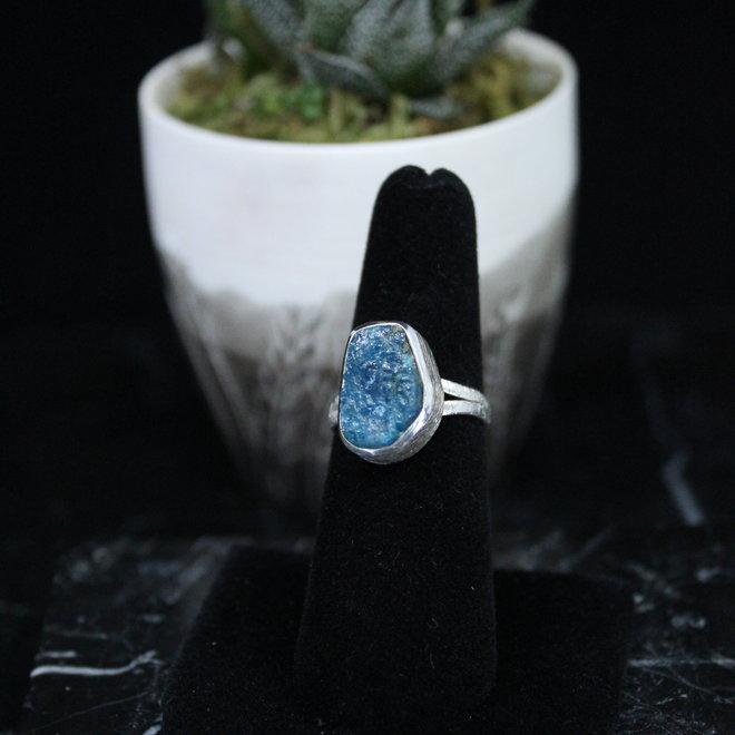 Blue Apatite Ring - Size 7 - Sterling Silver Raw/Rough/Natural