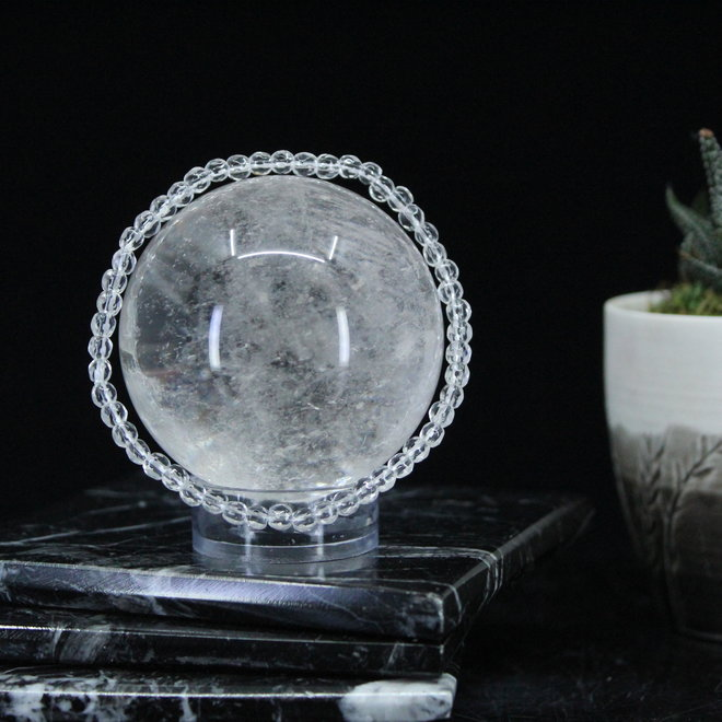 Clear Quartz Crystal Faceted Bracelet - 4mm