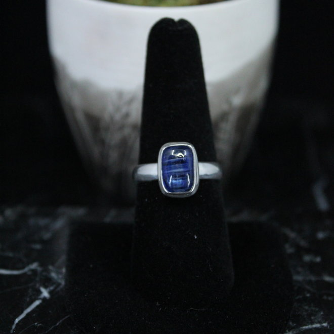 Blue Kyanite Ring - Size 8 - Sterling Silver Rectangle