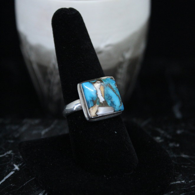 Arizona Turquoise Ring - Size 8 - Sterling Silver Square
