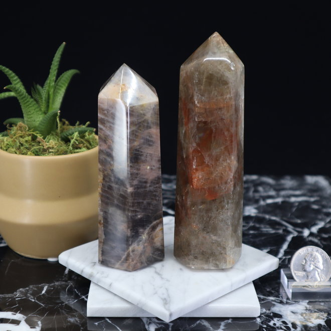 """Black Moonstone Tower Point-Large (4-7"""")"""