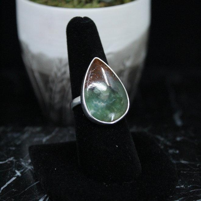 Chrysoprase Ring - Size 8 - Sterling Silver Large Teardrop