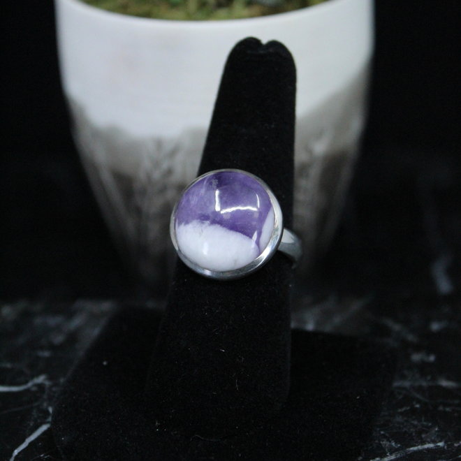 Amethyst Ring - Size 8 - Sterling Silver Large Round