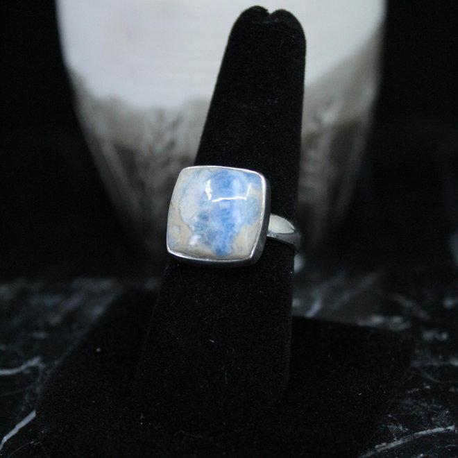 Blue Scheelite Ring - Size 8 - Sterling Silver Square