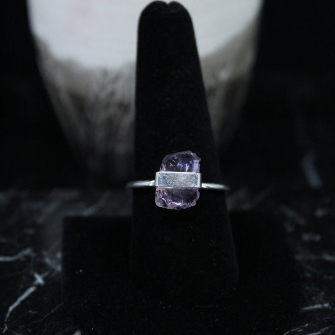 Amethyst Ring - Size 9 - Sterling Silver Raw/Rough/Natural