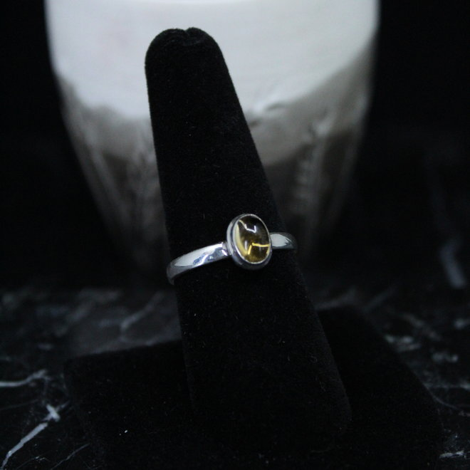 Citrine Ring - Size 8 - Sterling Silver Small Oval