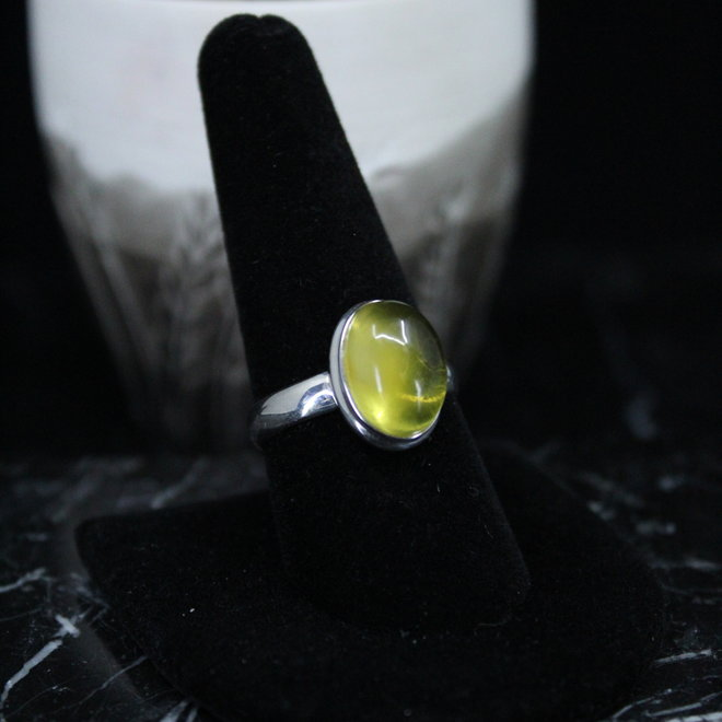 Baltic Amber Ring - Size 9 - Sterling Silver Oval