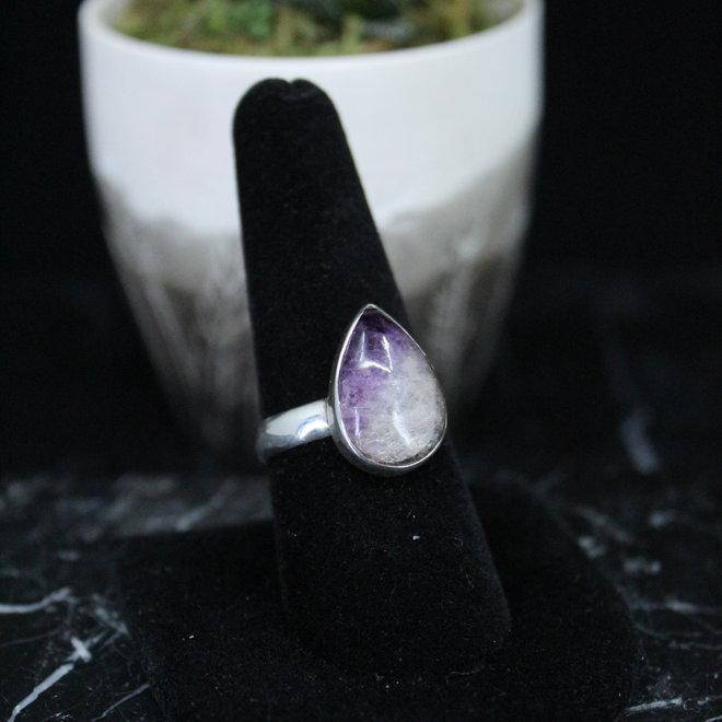 Blue John Fluorite Ring - Size 8 - Sterling Silver Teardrop