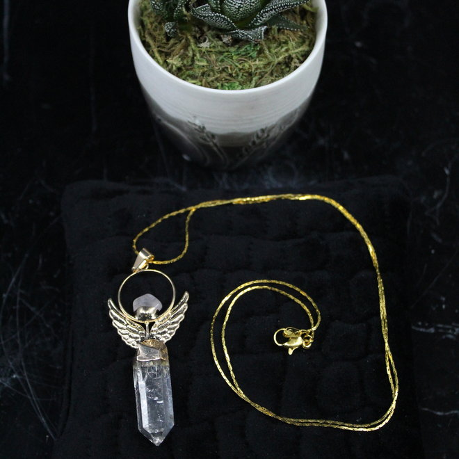 Angel Wing Clear Quartz Point -Gold Necklace