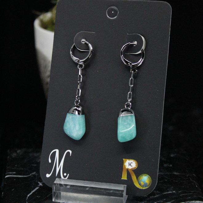 Amazonite Tumbled Dangle Titanium Earrings