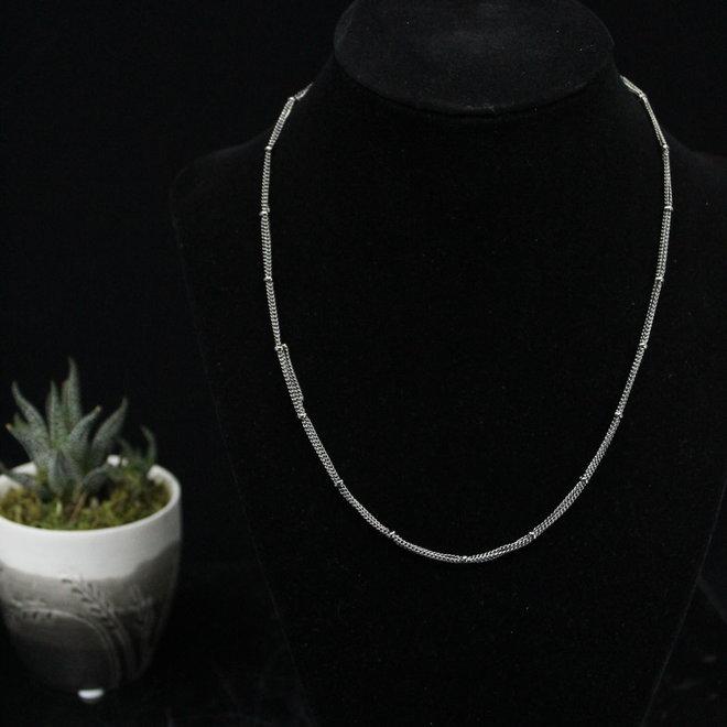"3 Strand Chain Necklace Gunmetal - 18"""
