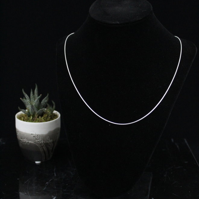 """Box Round Adjustable Chain Necklace Sterling Silver - 20"""""""