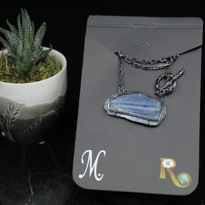 Blue Kyanite Wire Wrapped Toggle Titanium Necklace