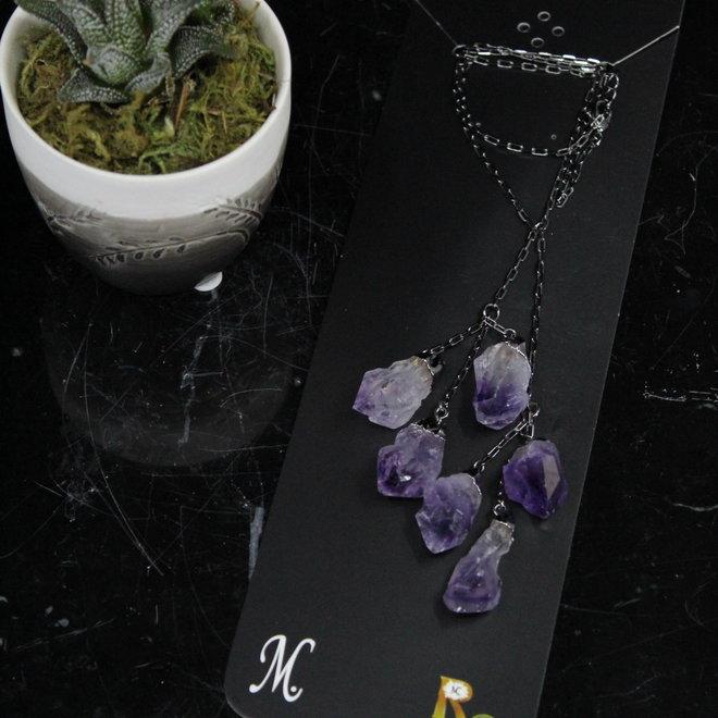 Amethyst 6 Point Y-Drop Titanium Necklace