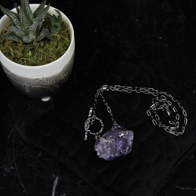 Amethyst Wire Wrapped Toggle Titanium Necklace
