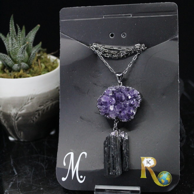 Amethyst Druzy & Black Tourmaline Titanium Necklace