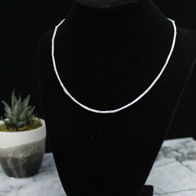 """3 Strand Chain Necklace Silver Plated - 18"""""""