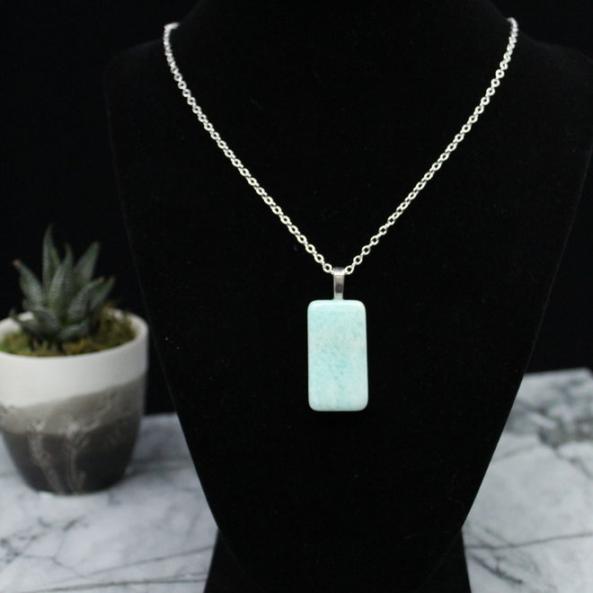 Amazonite Necklace Pendant-Sterling Silver
