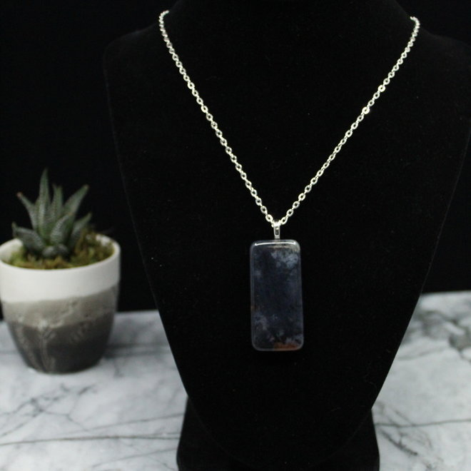 Blue Agate Necklace Pendant-Sterling Silver
