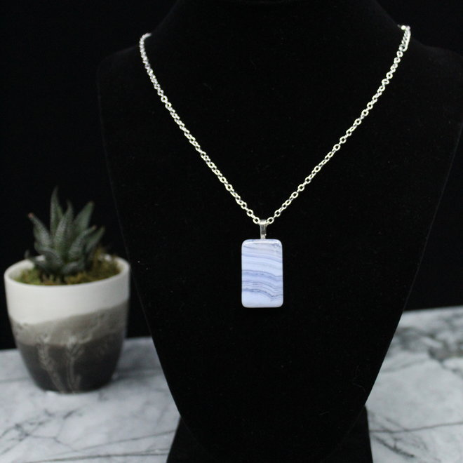 Blue Lace Agate Necklace-Square Sterling Silver