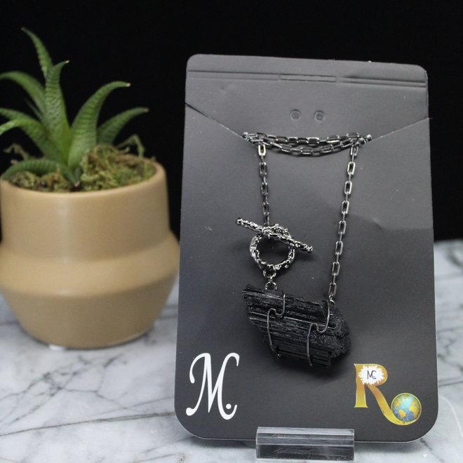 Black Tourmaline Wire Wrapped Toggle Titanium Necklace