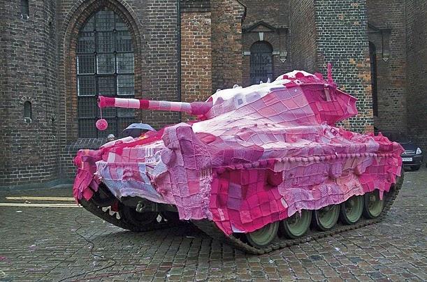 Tank covered in yarn