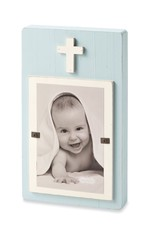 MUD PIE BLUE WOOD CROSS BLOCK PICTURE FRAME