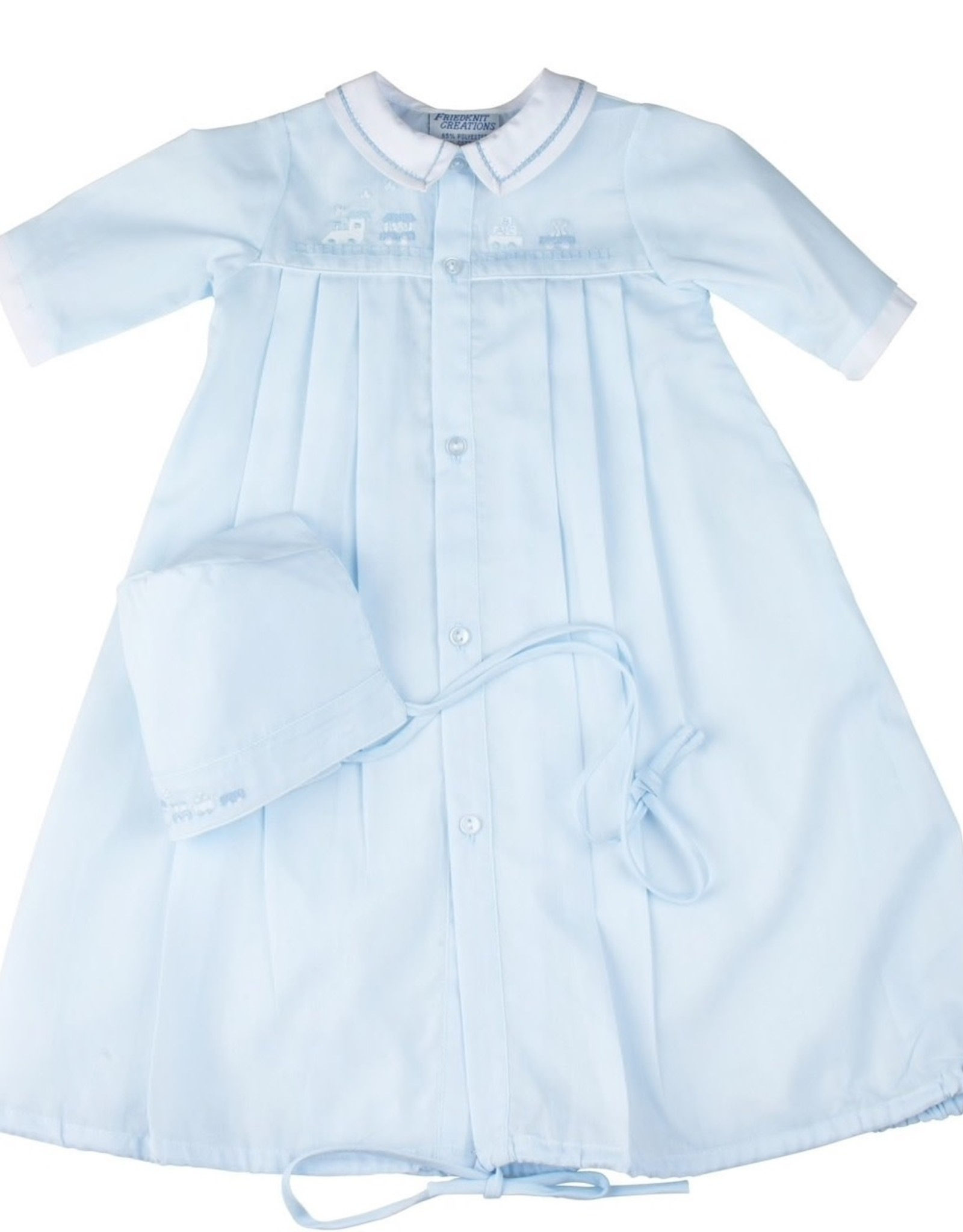 FELTMAN BROTHERS Train Pleated Take Me Home Gown with Hat