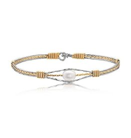RONALDO GUARDIAN ANGEL BRACELET, SILVER WITH GOLD WRAPS