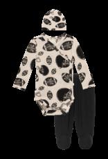POSH PEANUT TOUCHDOWN KIMONO FOOTIE PANTS BEANIE SET 0-3 MONTHS