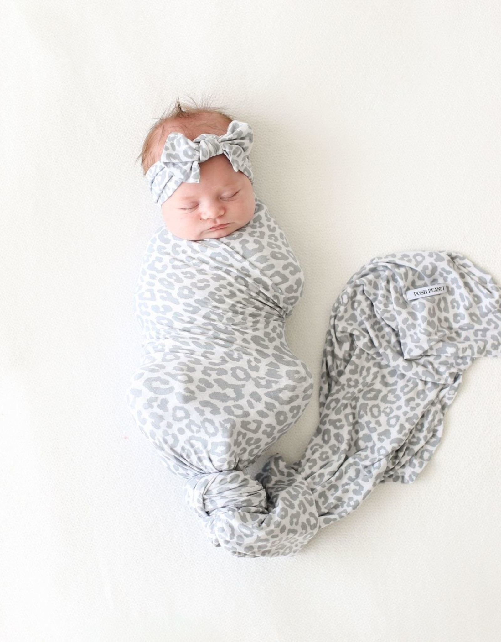 POSH PEANUT MINKA - INFANT SWADDLE AND HEADWRAP SET