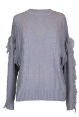 SIMPLY SOUTHERN SWEATER FRINGE SLEEVE GRAY