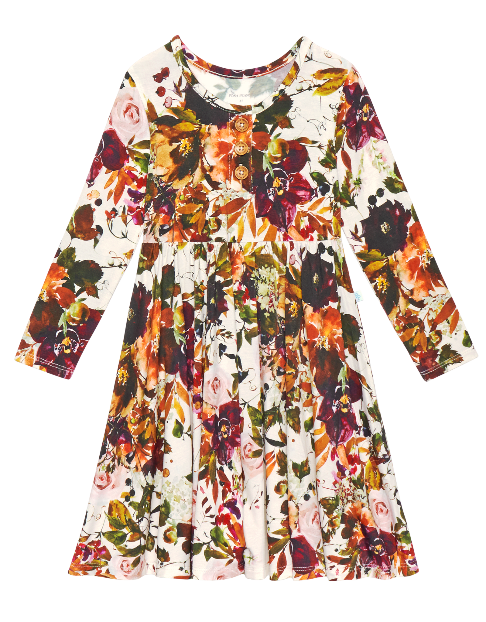 POSH PEANUT CORINNE LONG SLEEVE HENLEY TWIRL DRESS