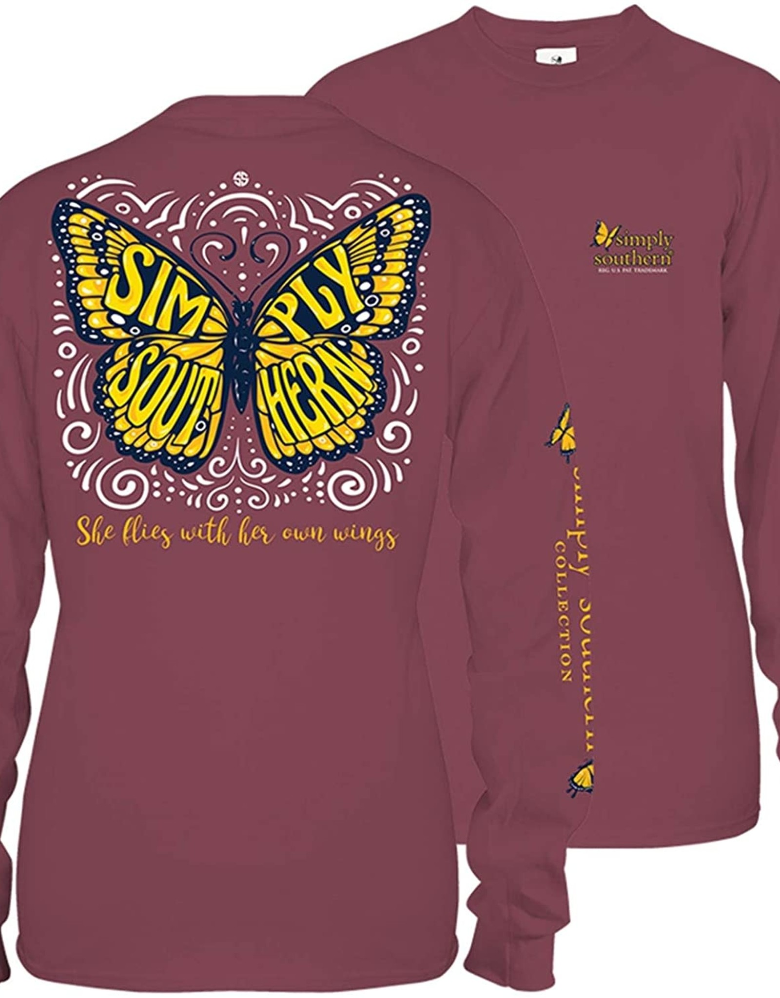 SIMPLY SOUTHERN BUTTERFLY MAROON