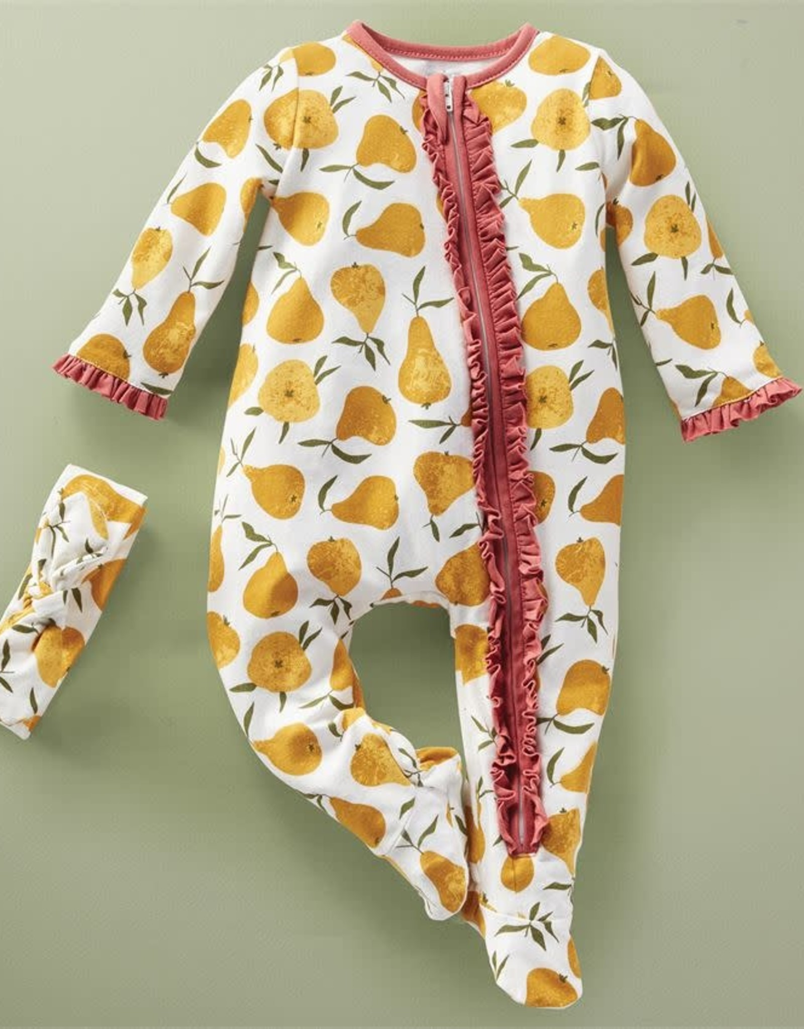 Mudpie PEAR PRINT SLEEPER W/ HEADBAND