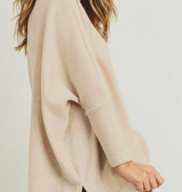 BRUSHED KNIT & RIBBED TOP