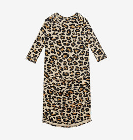 POSH PEANUT LANA LEOPARD TAN - BASIC ZIPPERED GOWN 0-3M