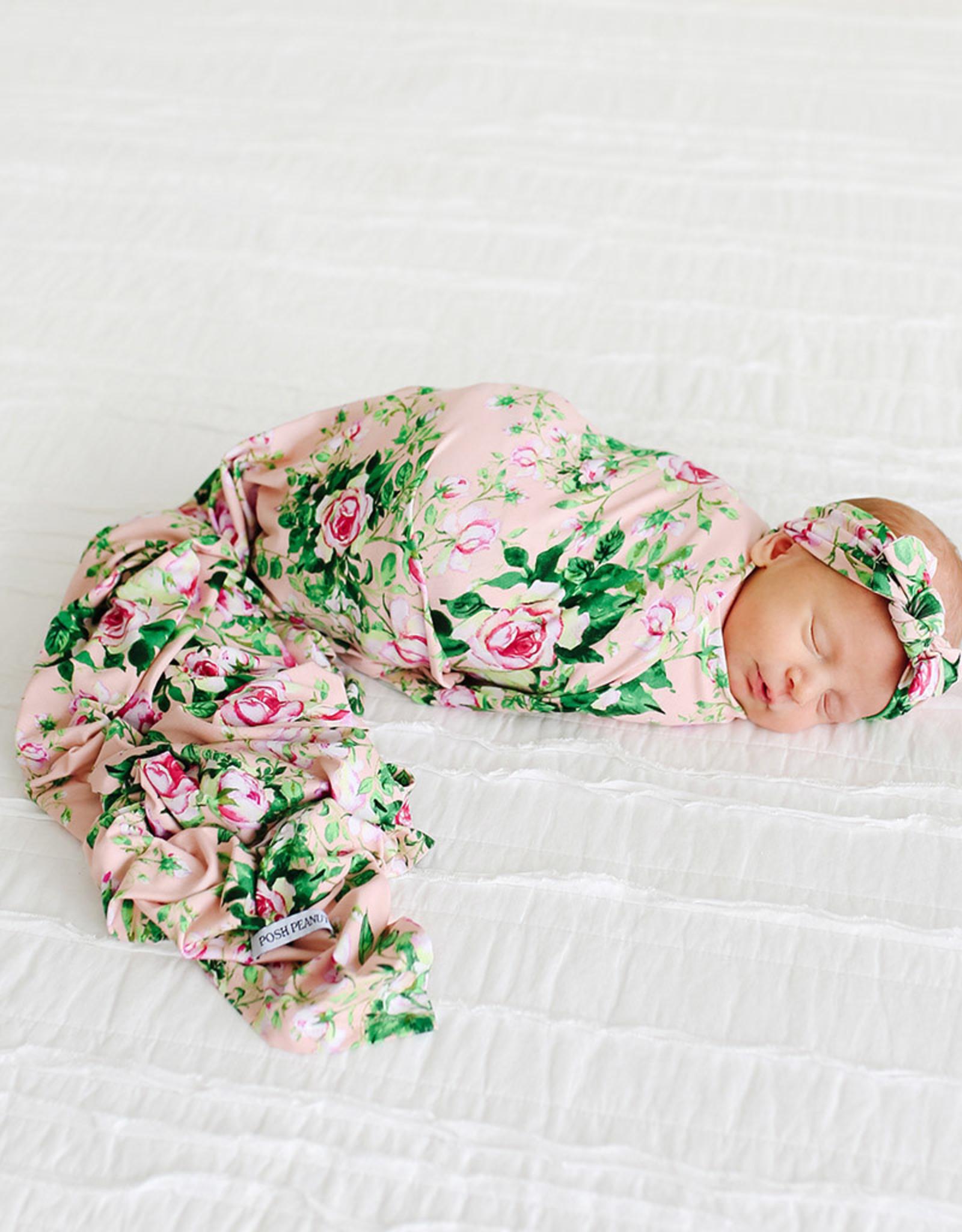 POSH PEANUT RENIA - INFANT SWADDLE AND HEADWRAP SET