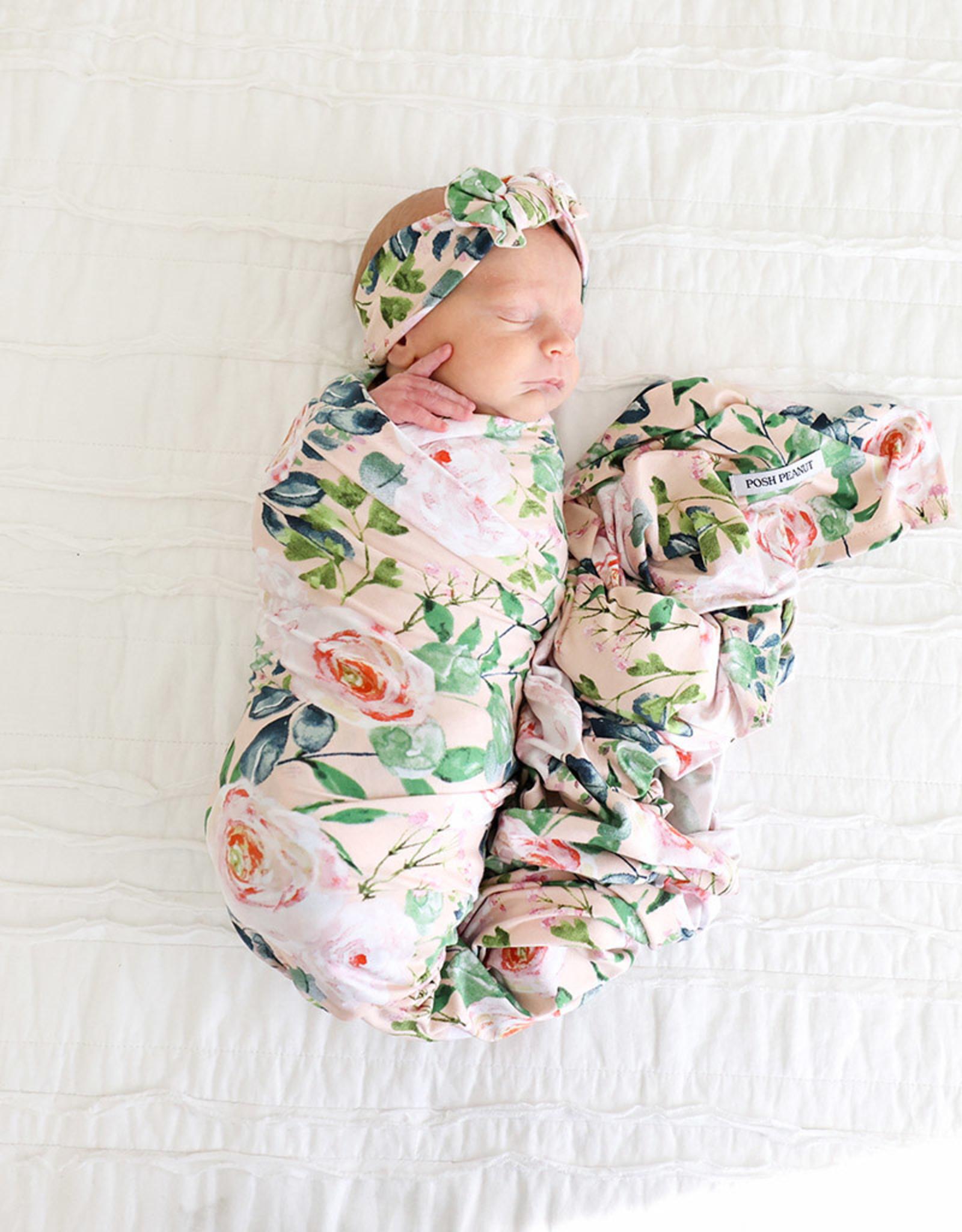POSH PEANUT Harper - Infant Swaddle and Headwrap Set