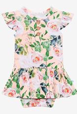 POSH PEANUT Harper - Ruffled Capsleeve Henley Twirl Skirt Bodysuit