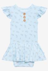 POSH PEANUT Grace - Ruffled Capsleeve Henley Twirl Skirt Bodysuit