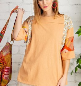 EASEL CORAL PRINT MIX TOP