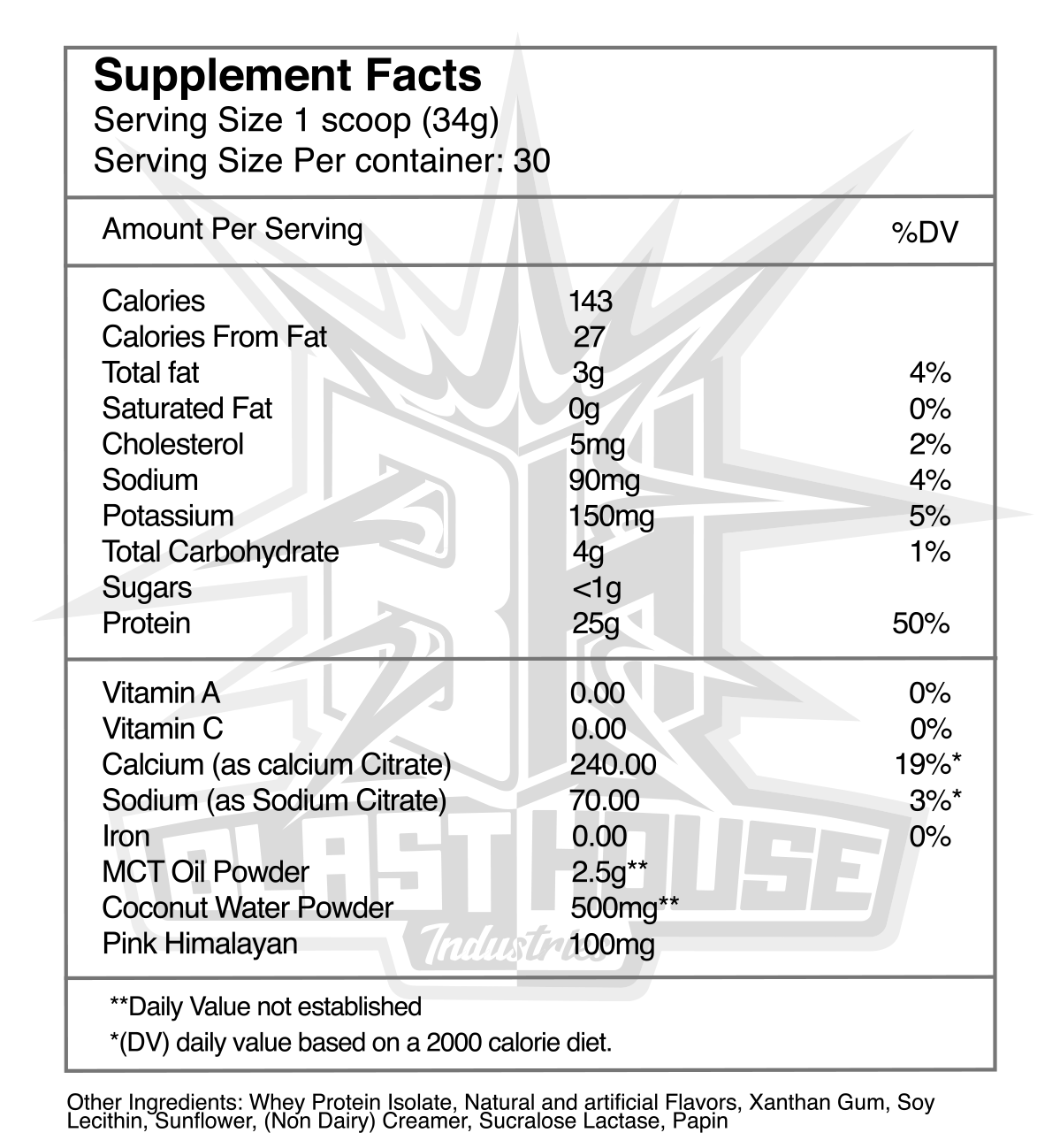 BlastHouse Recovery Whey Orange Creamsicle Nutrition Facts