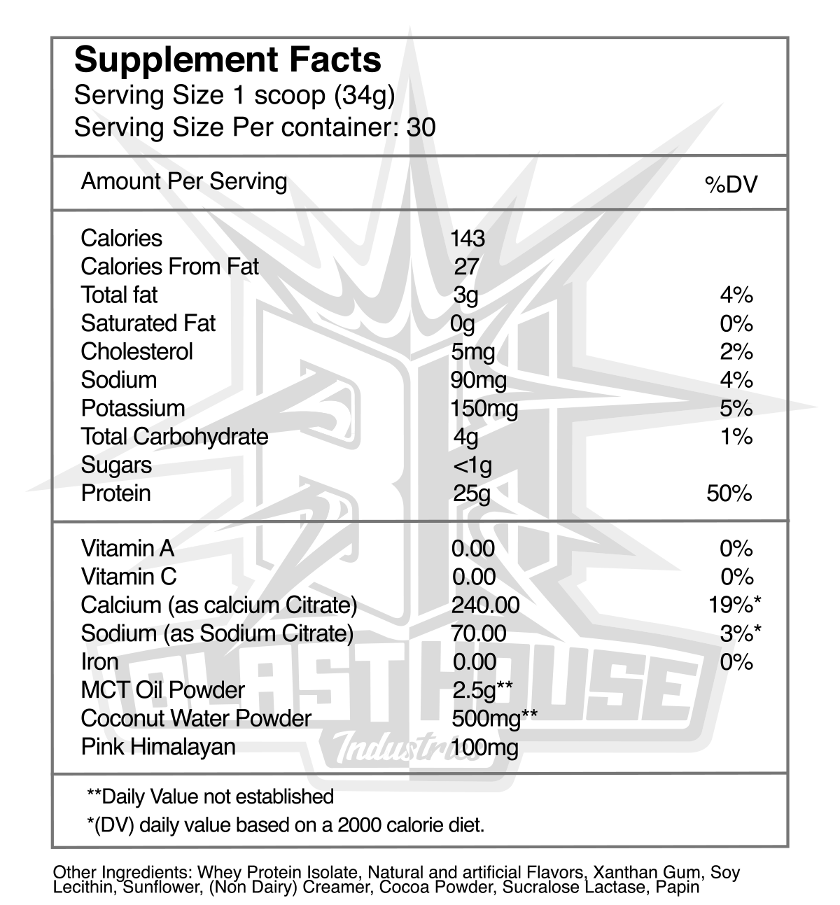 BlastHouse Recovery Whey Mint Chocolate Cookies Nutrition Facts