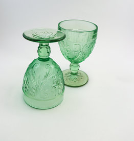 Tiara Indiana Glass Tiara Chantilly Green Sandwich Wine Goblets