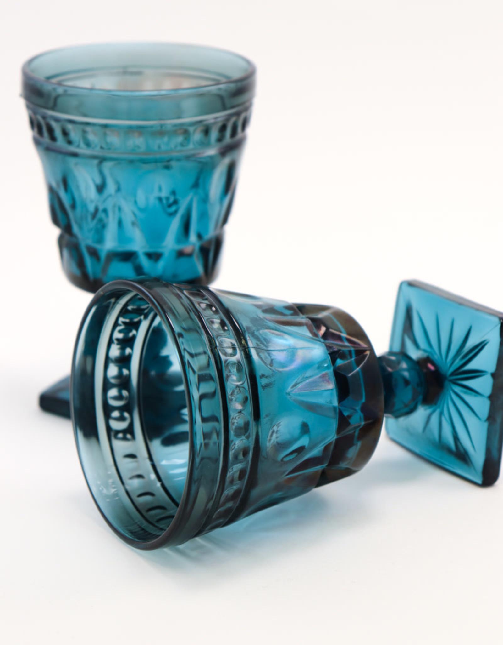 Vintage Deep Blue Glassware/4 Goblets