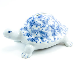 Andrea by Sadek Blue & White Ceramic Turtle Bank